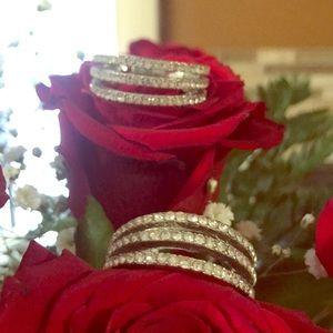 Jewelry - Rhinestone Silver Hoop Earrings